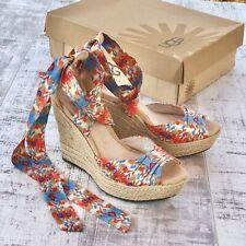 UGG HIGH HEELS WEDGE SANDALS 7 Ladies Blogger SHOES LUCIANA Orange Blue RRP £140