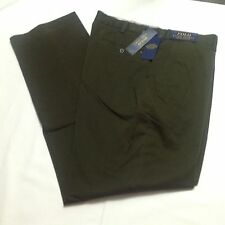 Polo Ralph Lauren Flat Front Chino Pants Mens 36x34 Olive Stretch Classic NWT