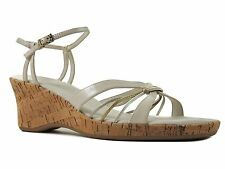 Easy Spirit Women's Madrina Sandal French Cream Gold Leather Shoes Size 10 M