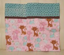 Set of 2 handmade pillow cases pink flannel cats kittens shams New gift
