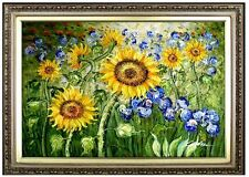 Framed, Van Gogh Sunflowers & Irises Field, Hand Painted Oil Painting 24x36in
