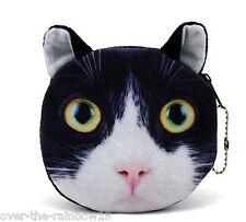 Royaume-Uni la vente: Noir & Blanc Chat Chaton Porte-monnaie, doublé Sac Smoking Tuxedo Feline Portefeuille