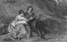 Poor SAD Musician, WIFE & NEW BABY Child by Road Side ~ 1875 Art Print Engraving
