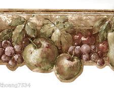 Tuscan Rustic Fruit Grape Apple Pear Cherry Vine Sculptured Wall paper Border