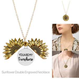 You Are My Sunshine Engraved Necklace Sunflower Locket Necklace Jewelry Women