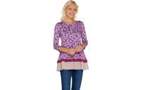 LOGO by Lori Goldstein Printed Knit Top with Contrast Hem Wisteria M A301975 QVC