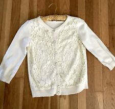 Forever 21 Cardigan Lace Sweater Beige Size Small