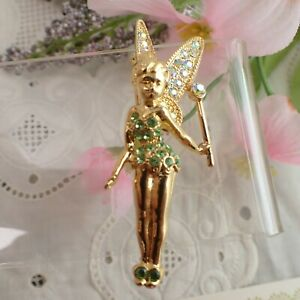 Vintage Disney Tinkerbell with Wand Swarovski Rhinestone Gold Tone Pin Brooch