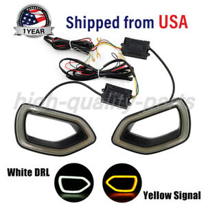 Front Grille LED Lights for Dodge Charger SRT Scat Pack 15-19 White DRL Yellow