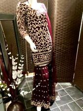 Stunning Pakistani/Asian Indian wedding party Suit Claret & gold Size M