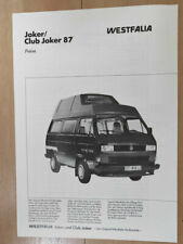 VW T25 / T3 Westfalia Joker / Club Joker Camper Original Price List