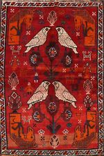 Antique Geometric Animal Pictorial Abadeh Tribal Area Rug Hand-Knotted Wool 4x6