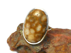 Fossilized  CORAL  Sterling  Silver  925  Gemstone  RING  -  Size: N