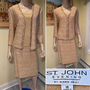 ST JOHN Size 16/XL 3-Piece Metallic Gold Bejeweled Stretch Wool Knit SKIRT SUIT