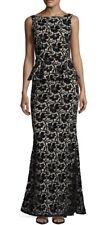 Alice + Olivia Jae Velvet Peplum Open Back Gown Black Beige New 4 $895