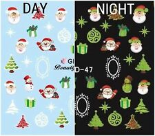 Nail Art Water Decals Glow in the Dark Christmas Tree Santa Presents GID047