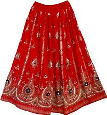 Red Ladies Indian Boho Hippie Gypsy Sequin Summer Sundress Belly dancIng Skirt