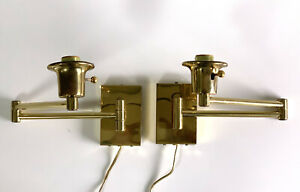 Vintage Pair of Brass Adjustable Wall Lamp Sconces