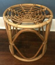 Vintage 1970s Retro Boho Bamboo Rattan Side End Table Plant Stand Mid Century