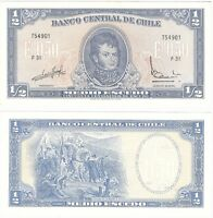 Chile 1/2 Escudo 1962 P-134 Aa.2 UNC Uncirculated Banknote