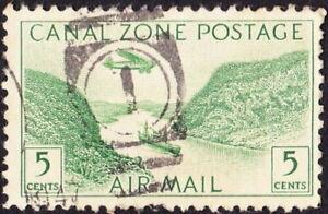 Canal Zone - 1931 - 5 Cents Yellow Green Gaillard Cut  Issue # C7 w Neat Duplex