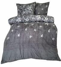 Fleece Bettwäsche Winter Grau Sterne 135 155 200 220 240 flauschig Set kuschelig