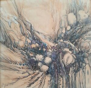 AHUVA SHERMAN ( 1926- ), Huge Pastel on Paper, Abstract Landscape, Signed, 1983