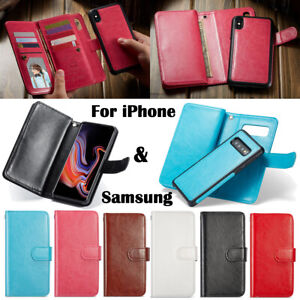 Wallet Case PU Leather Cover for Samsung Galaxy S8 S9 S10 Plus iPhone Xs Max XR