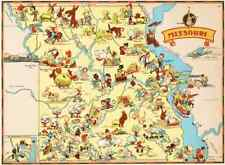 Canvas Reproduction Vintage Pictorial Map of Missouri Print Ruth Taylor 1935