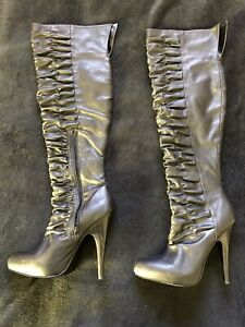 Carlos Santana Faux Leather Thigh Boot Stiletto Over The Knee Otk 9.5