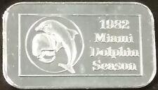 1982 MIAMI DOLPHINS 999 Fine 1 Oz Silver Art Bar Ingot Football Season Schedule