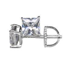 Cubic Zirconia Princess Sterling Silver Fine Earrings