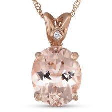 2ct Vintage Morganite & Diamond Pendant 14K Rose Gold