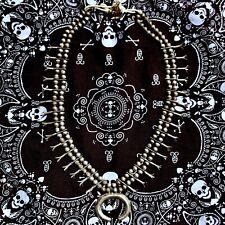 1930 Long All Silver Squash Blossom Necklace Naja Navajo Pueblo Heavy Pawn Old