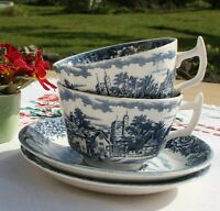 "Pair of Vintage Alfred Meakin Ironstone ""English Village"" Cups & Saucers c.1960"