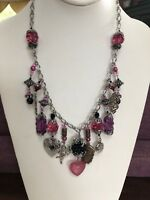 Iris Lane One of a Kind Vintage Necklace Pink purple heart locket charm