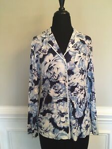 NEW Soma Cool Nights Blue Floral Button Down Top XS