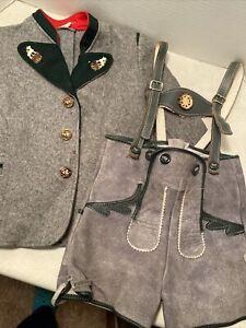Vintage Childs Clothing Leather Lederhosen And Jacket Western Germany