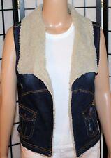 NWT SUGAR MAGNOLIA Junior Women's Sz 3 Fleece Trimmed Distressed Open Jean Vest