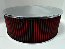 "14"" X 5"" Round Chrome Washable Red Air Cleaner Drop Base Extreme Chevy SBC 350"