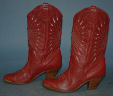 WOMENS VTG DINGO RED LEATHER WESTERN/COWGIRL STACKED HEEL RIDING CUTE BOOTS sz 6