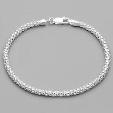 """925 Sterling Silver Mesh Link Bracelet 7"""" - 17.7 centimeter 3.5 mm wide Italy"""