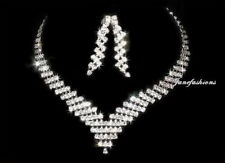 CHIC CRYSTAL NECKLACE EARRINGS SET BRIDAL PARTY N117