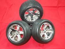 4 Traxxas XL-5 Rustler wheels Alias tires vxl Stampede chrome 12mm brushless new