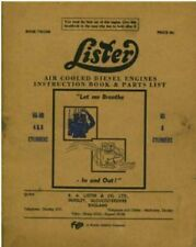 LISTER DIESEL ENGINE HA & HB 4 & 6 Cyl HS 6 Cyl OPERATORS MANUAL WITH PARTS LIST