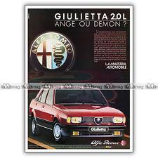 PUB ALFA ROMEO GIULIETTA 2.0 L 130 ch - Original Advert / Publicité 1984