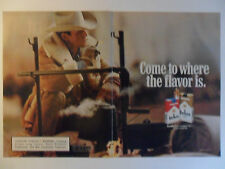 1990 Print Ad Marlboro Cigarettes ~ Western Cowboy White Hat Over a Kettle