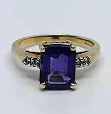 Amethyst and Diamond Ring in 9ct Gold