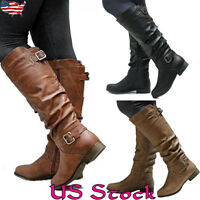 Womens Ladies Faux Leather Mid-Calf Boots Zip Low Heels Flat Shoes Size 5-8.5