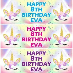 2 Personalised Birthday Banner Unicorn Head Kids Party Decoration Poster